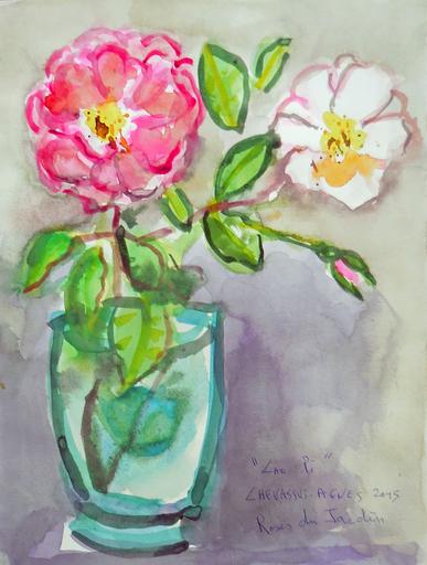Jean-Pierre CHEVASSUS-AGNES - Drawing-Watercolor - deux roses de mon jardin dans un vase