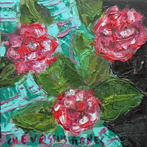 Jean-Pierre CHEVASSUS-AGNES - Peinture - trois fleurs de camélias de mon jardin