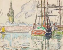 保罗•西涅克 - 水彩作品 - Voiliers au port