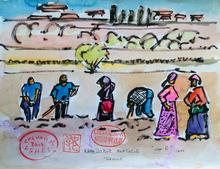Jean-Pierre CHEVASSUS-AGNES - Drawing-Watercolor - scène paysanne  en Cappadoce ( Turquie )