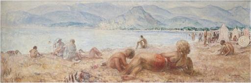 Henri Baptiste LEBASQUE - Gemälde - Baigneurs sur la plage de Cagnes-sur-Mer