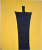 Michael GROSS - Painting - Untitled [Black Figure on Yellow Background]
