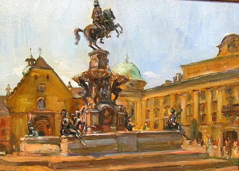 Emil Leonhard SMIDT - 绘画 - Der Leopoldsbrunnen in Innsbruck
