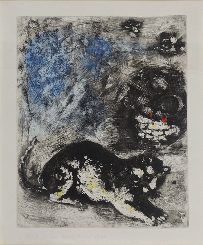 Marc CHAGALL - Grabado - The cat and the two sparrows