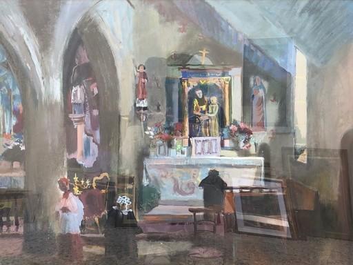 Edouard Léon Louis LEGRAND - Drawing-Watercolor - Intérieur d'église