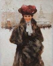 Victor GUERRIER (1893-1968) - Woman with fur sleeve at Place de la République