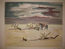 Yves BRAYER - Estampe-Multiple - Le repos des cavaliers sur la plage,1974