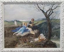 "Eduard VEITH - Pintura - ""Pleasure Trip"" by Eduard Veith (1856-1925), Watercolour"