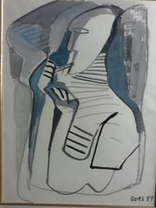 Francisco BORES - Dessin-Aquarelle - PERSONNAGE DE PROFIL