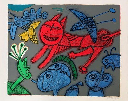 CORNEILLE - Estampe-Multiple - Le chat rouge