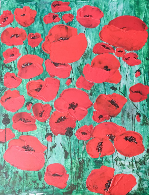 """Lillie PIRVELLIE - Painting - """"ST REMY"""" Red poppies, bright flowers on green blue field"""