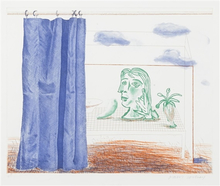 David HOCKNEY (1937) - What is this Picasso? (from The Blue Guitar series)