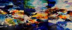 CHHOUR Kaloon - Painting - Untitled KPB19 (triptych)