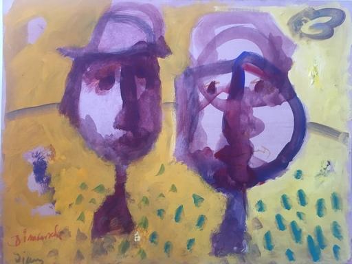 Sylvain VIGNY - Gemälde - COUPLE UN DIMANCHE JAUNE