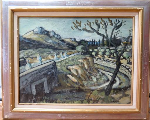 Auguste CHABAUD - Pintura - Pères blanc sur la route de Frigolet