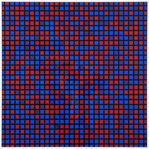 François MORELLET - Druckgrafik-Multiple - Chartres - bleu violet