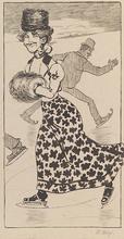 "Rudolf WOLF - Drawing-Watercolor - ""At Skating Rink"" by Rudolf Robert Wolf, ca 1900"