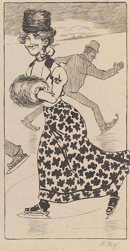 "Rudolf WOLF - 水彩作品 - ""At Skating Rink"" by Rudolf Robert Wolf, ca 1900"