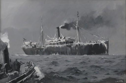 Leonhard SANDROCK - Pintura - Frachter in der Nordsee im Winter