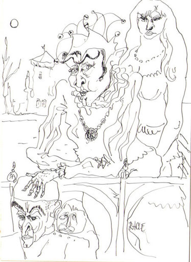 Paul RACLÉ - Zeichnung Aquarell - Jester and Friends - New Years 1962