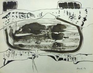 François ARNAL - Drawing-Watercolor - Entre deux solides, 1956
