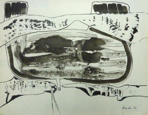 François ARNAL - Dibujo Acuarela - Entre deux solides, 1956
