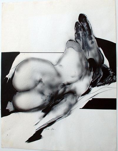 François FRANTA - Dibujo Acuarela - FEMME COUCHEE