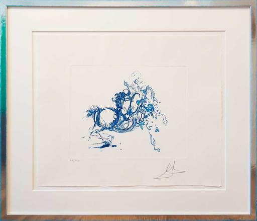 萨尔瓦多·达利 - 版画 - Ritterkampf/Jinete (ultramarin-blau)