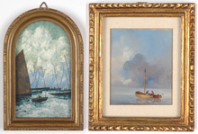 "Ernest Pierre GUÉRIN - Pintura - Ernest-Pierre Guerin (1887-1952) ""Fisher boats in Bretagne"""