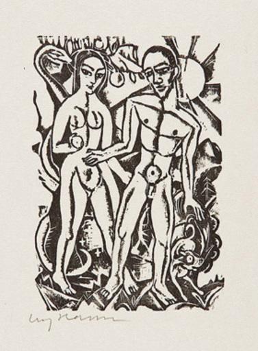 Carry HAUSER - Grabado - Adam und Eva