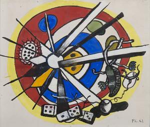 Fernand LÉGER - Disegno Acquarello - Composition circulaire