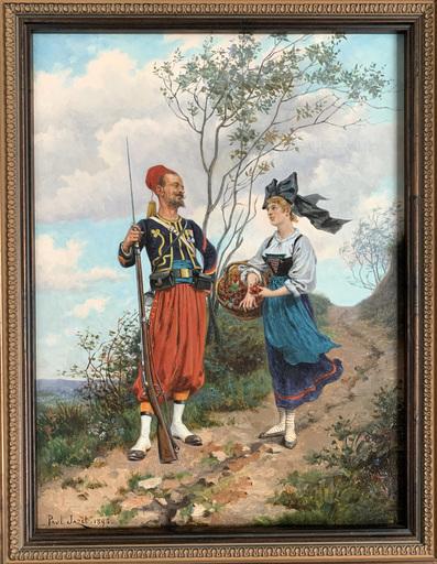 Paul Léon JAZET - 绘画 - Zouave et alsacienne