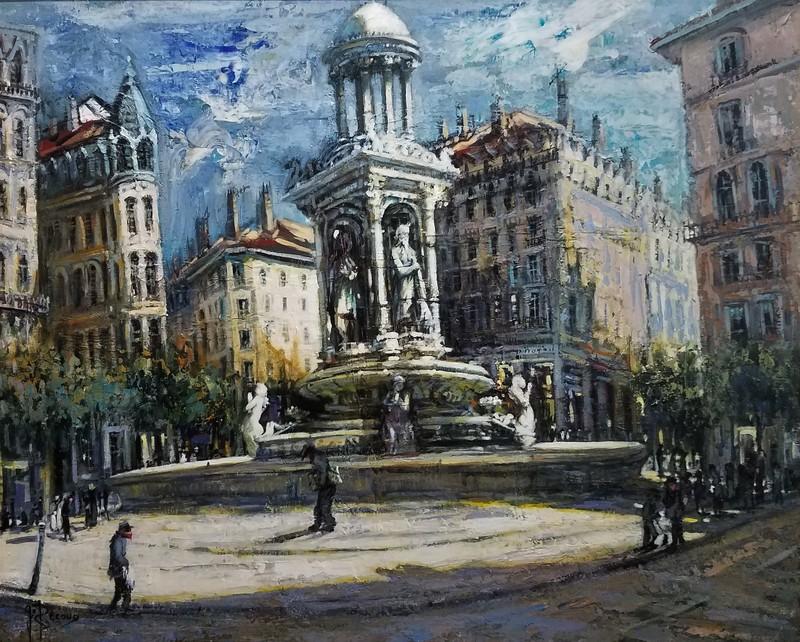 Gilbert PECOUD - Painting - La fontaine des Jacobins, Lyon