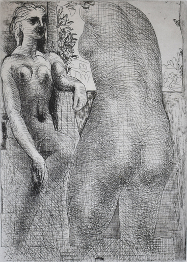 Pablo PICASSO - Grabado - Model and Back of Large Sculpture, from: La Suite Vollard
