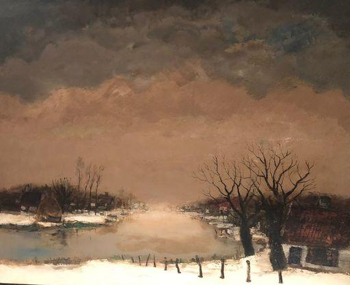 Lucien VAN DEN DRIESSCHE - Painting - winterlandschap met rivier