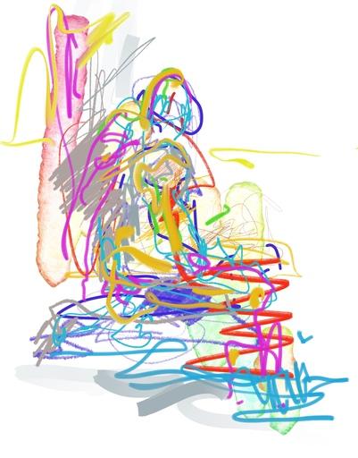 Nicole LEIDENFROST - Druckgrafik-Multiple - Sitzend am Wasser