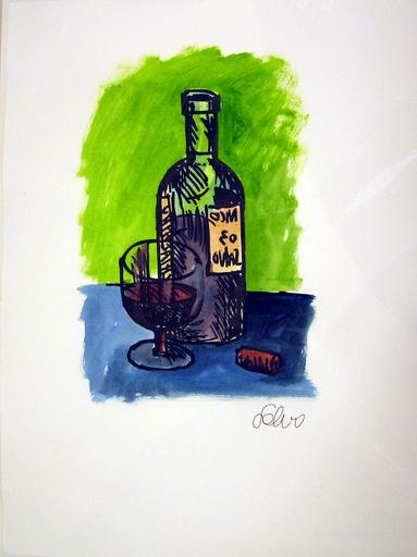SALVO - Dibujo Acuarela - Bottiglia e bicchiere e sigaro