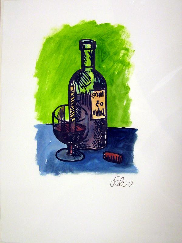 SALVO - Drawing-Watercolor - Bottiglia e bicchiere e sigaro