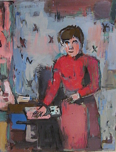 Erich HARTMANN - Peinture - Stehende Frau in rot .