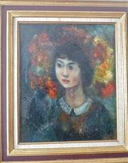 Edouard Joseph GOERG - Peinture - Jeune fille aux fleurs