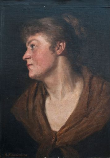 Hermann SCHMIECHEN - Painting - Porträt der Schauspielerin Else Lehmann