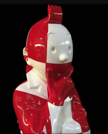 """PEPPONE - Sculpture-Volume - """"L'ordre et le chaos"""" Fusée damier rouge et blanc"""