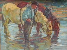 Hermann PREDIGER - Painting - Pferdetränke