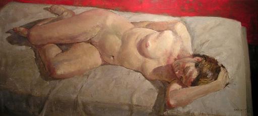 Angel BADIA CAMPS - Pintura - Nu amb fons vermell