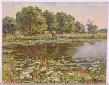 "Vladimir Aleksandrovich ZHUGAN - Pintura - ""By a Lake"", Oil Painting, 1970s"