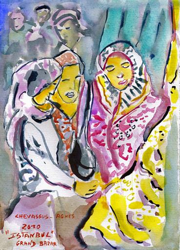 Jean-Pierre CHEVASSUS-AGNES - Dessin-Aquarelle - femmes turques au grand bazar d'Istanbul Turquie