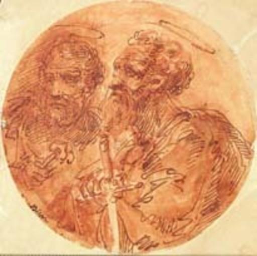 Giuseppe Bernardino BISON - Zeichnung Aquarell - SAINT PAUL AND SAINT PETER