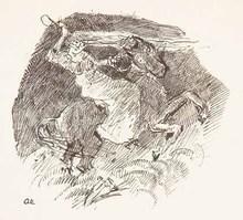 Oskar LASKE - Dibujo Acuarela - Reiterin