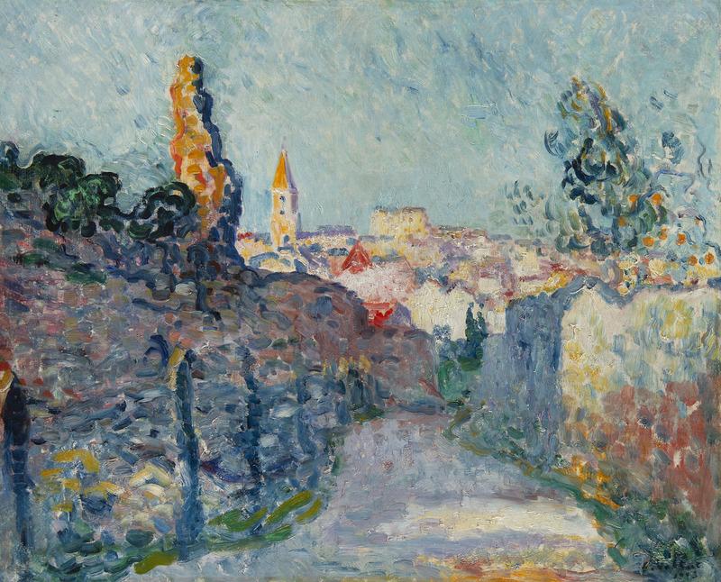 路易斯·瓦尔塔 - 绘画 - Village à la tour