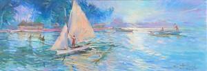 """Guy HUZÉ - Drawing-Watercolor - """"RETOUR DE PECHE A TAHITI"""""""